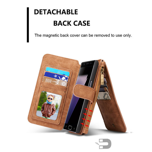 14 Card slots Genuine Leather Wallet Case For Samsung NOTE 7 - Diana's Space