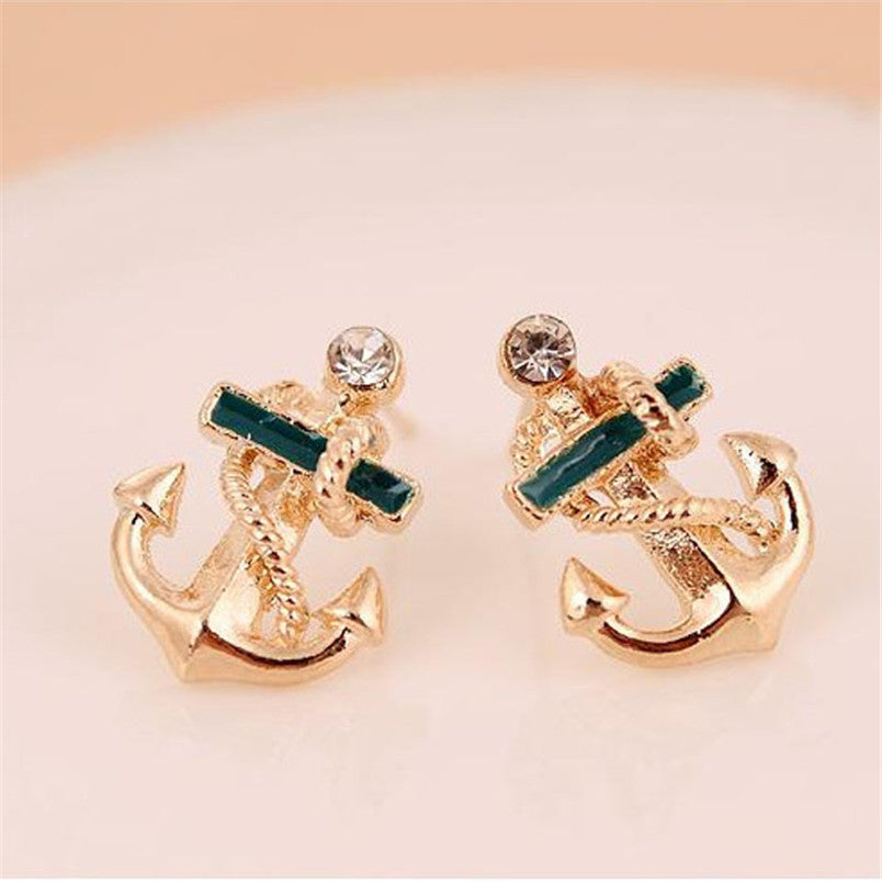 Navel Design Crystal Rhinestone Anchor Ear Stud Earrings - Diana's Space