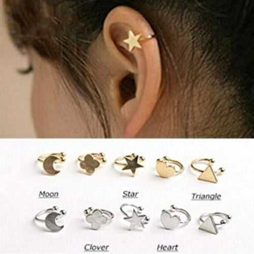 Star, Moon, Heart or Triangle Clip Stud Earring - Diana's Space