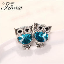 Crystal Owl Charm Stud Earrings - Diana's Space