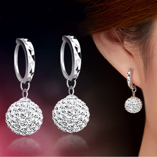 Crystal Shamballa Princess Ball Sterling Silver Women Stud Earrings - Diana's Space