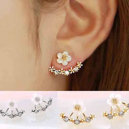 Crystal Flower Stud Earrings - Diana's Space