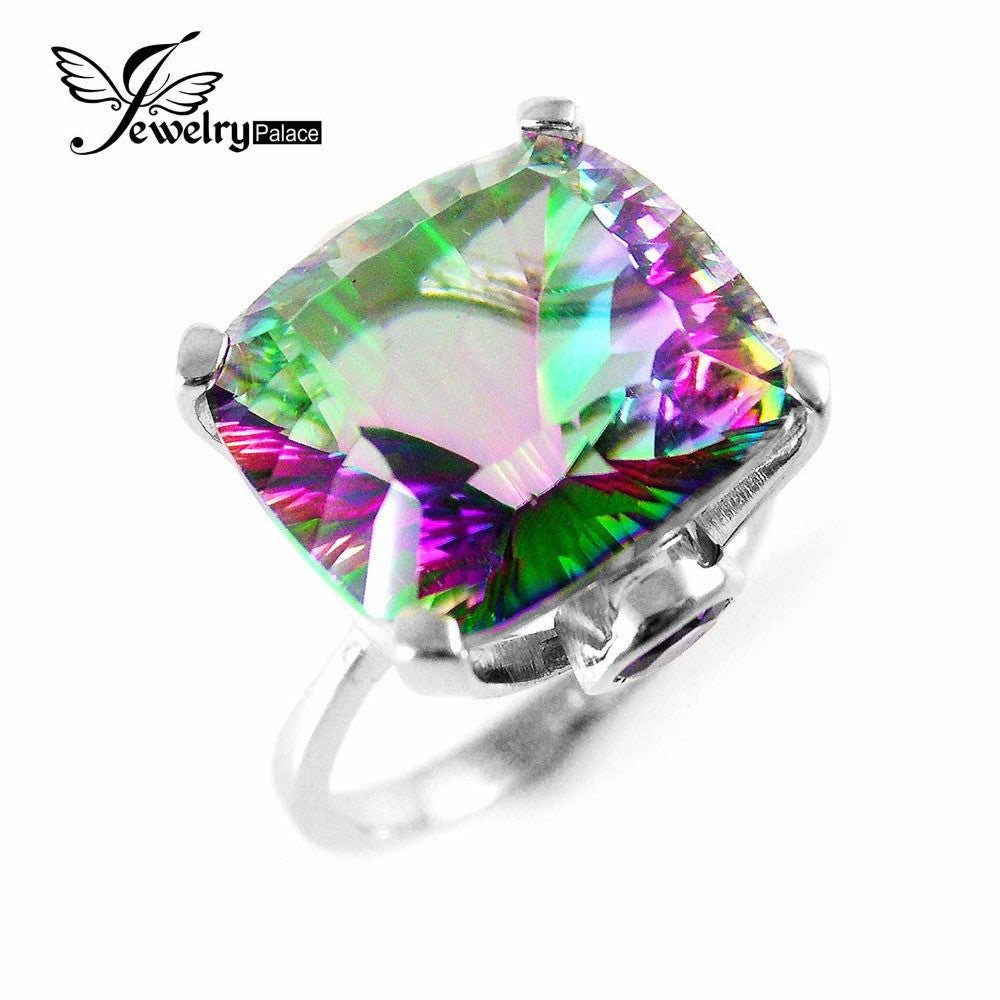 10.3ct High Quality Fire  Sterling Silver Mystic Topaz Ring - Diana's Space