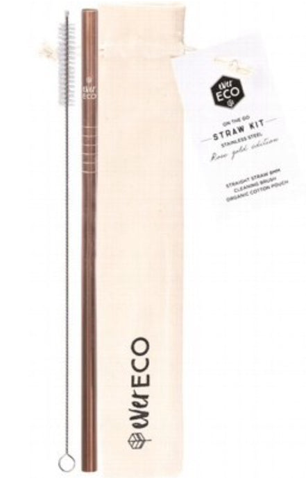 Ever Eco Stainless Steel Rose Gold Straw Straight On-the-go Kit | Pouch + Straw + Brush - Integrity Lane