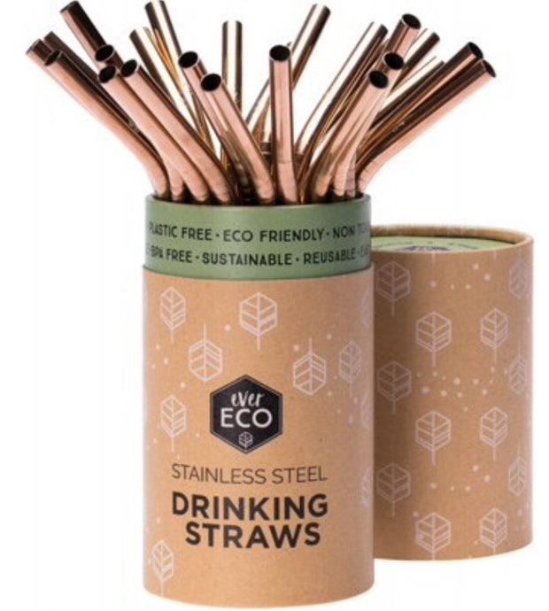 Ever Eco Reusable Stainless Steel Rose Gold Straws | Bent 25 Pack | Bulk - Integrity Lane