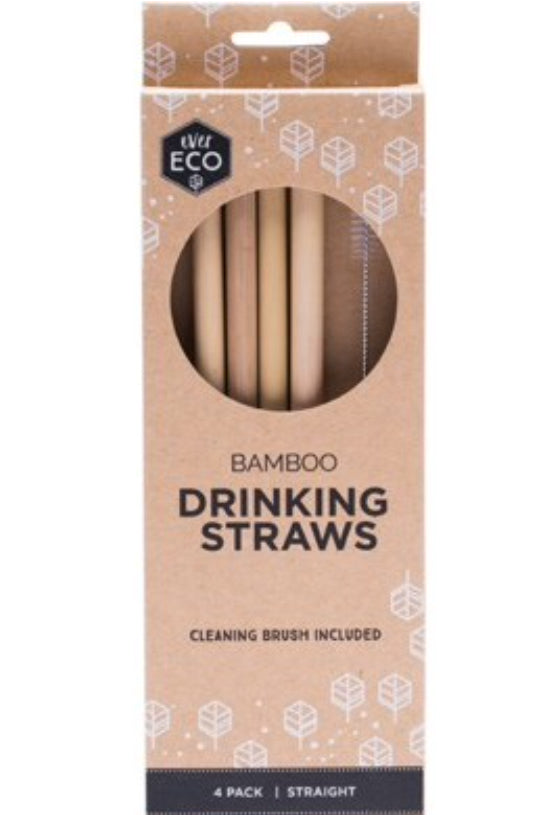 Ever Eco Reusable Bamboo Drinking Straws with Cleaning Brush | Pack of 4 - Integrity Lane
