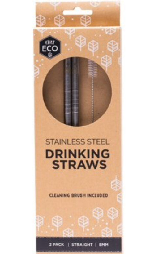 Ever Eco Reusable Stainless Steel Straws - Straight 2 Pack + Cleaning Brush - Integrity Lane