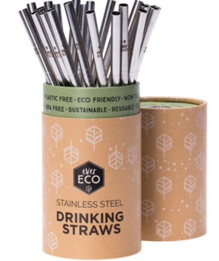 Ever Eco Reusable Stainless Steel Straws | Straight 25 Pack | Bulk - Integrity Lane