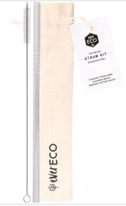 Ever Eco Stainless Steel Straw Straight On-the-go Kit | Pouch + Straw + Brush - Integrity Lane