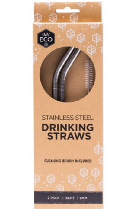 Ever Eco Reusable Stainless Steel Straws - Bent 2 Pack + Cleaning Brush - Integrity Lane
