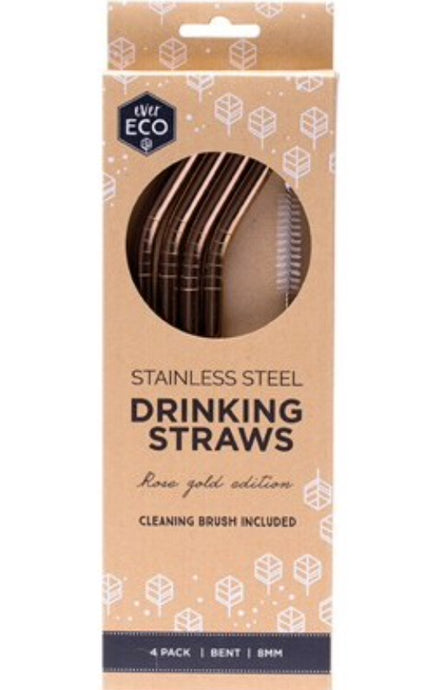 Ever Eco Reusable Stainless Steel Rose Gold Straws - Bent 4 Pack + Cleaning Brush - Integrity Lane