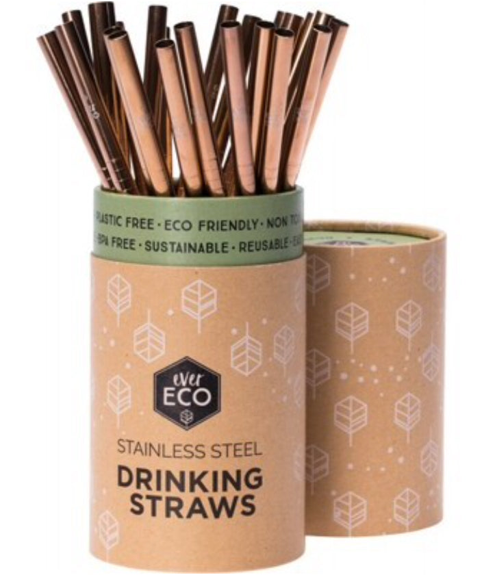 Ever Eco Reusable Stainless Steel Rose Gold Straws | Straight 25 Pack | Bulk - Integrity Lane