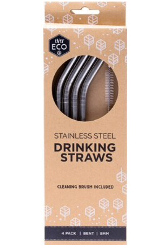 Ever Eco Reusable Stainless Steel Straws - Bent 4 Pack + Cleaning Brush - Integrity Lane