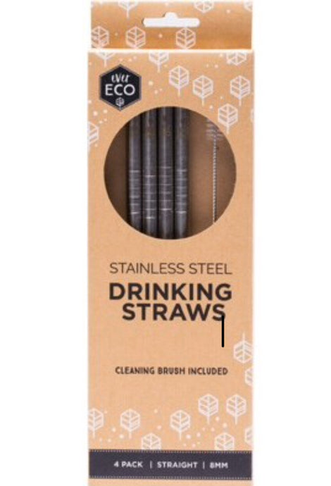 Ever Eco Reusable Stainless Steel Straws - Straight 4 Pack + Cleaning Brush - Integrity Lane