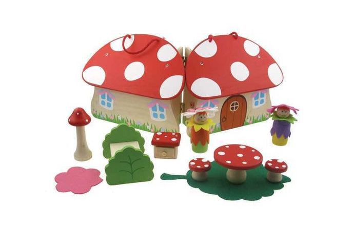 Wooden Toadstool Fairy Playset with Accessories | Pretend Play | House - Integrity Lane