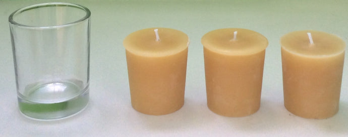 Beeswax Votive Candle x3 with 1 Glass Holder - Integrity Lane