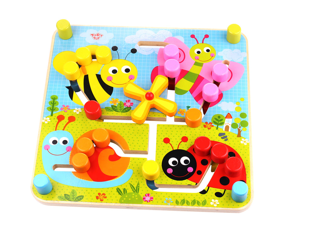 Wooden Reversible Maze | Tooky Toy | Animals Bee Butterfly | Toddler Baby - Integrity Lane