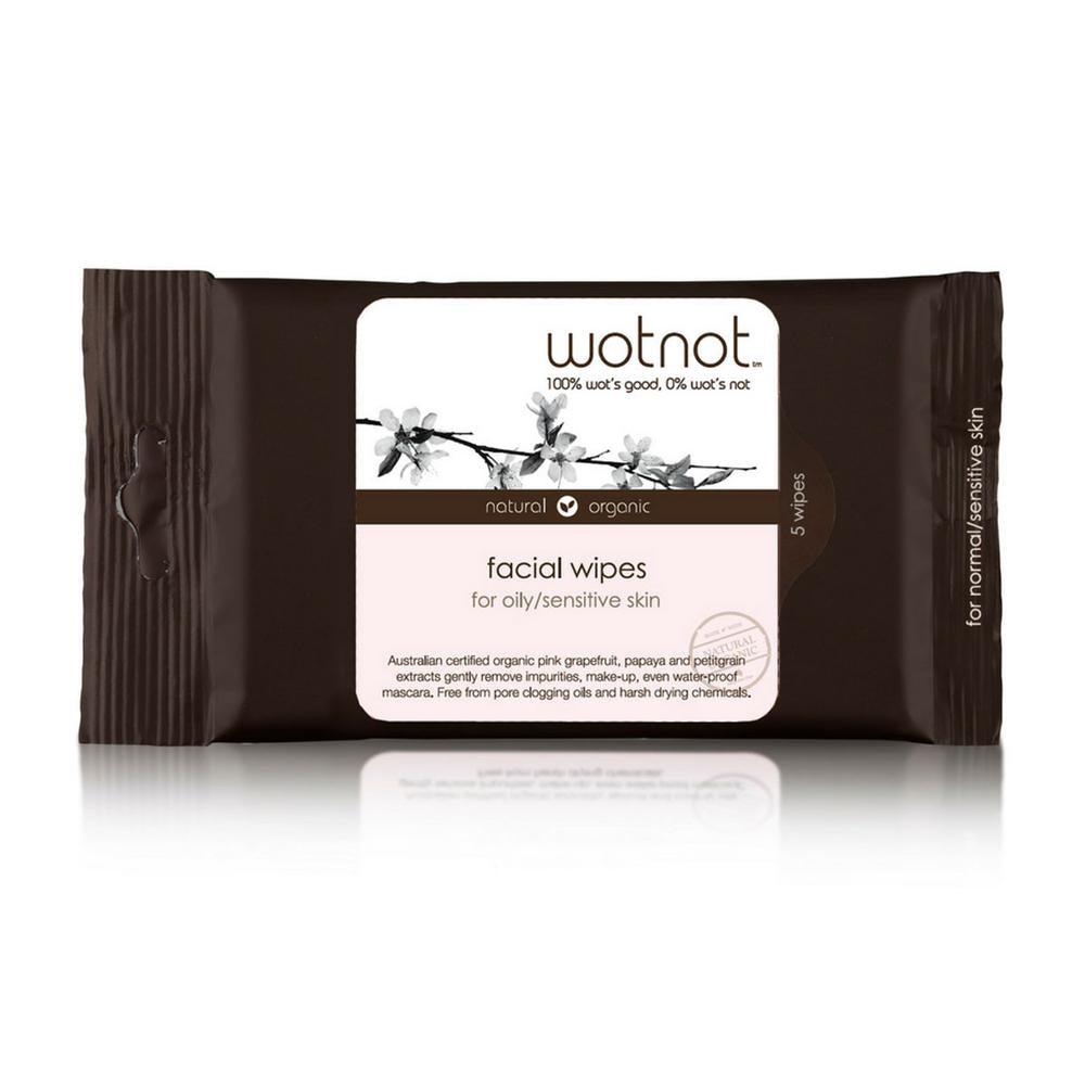 Wotnot Facial Wipes - Oily and Sensitive Skin | 5 Pack | Organic Biodegradable - Integrity Lane