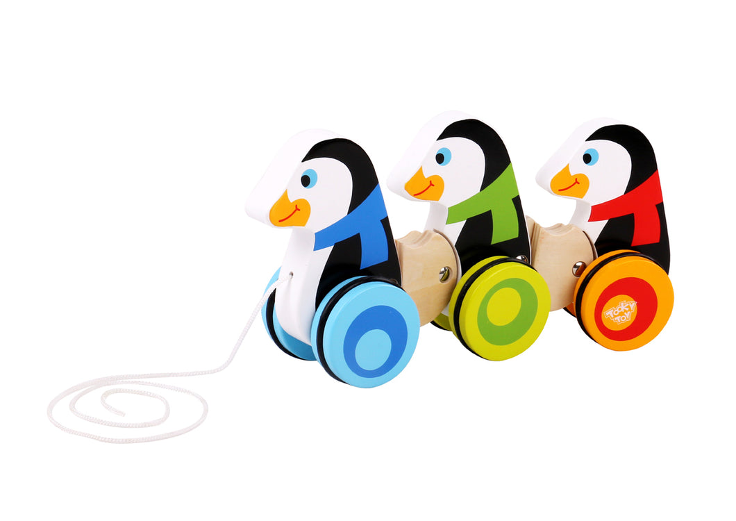 Wooden Pull Along Penguins | Tooky Toy | Toddler Baby | Animal a long Artic - Integrity Lane