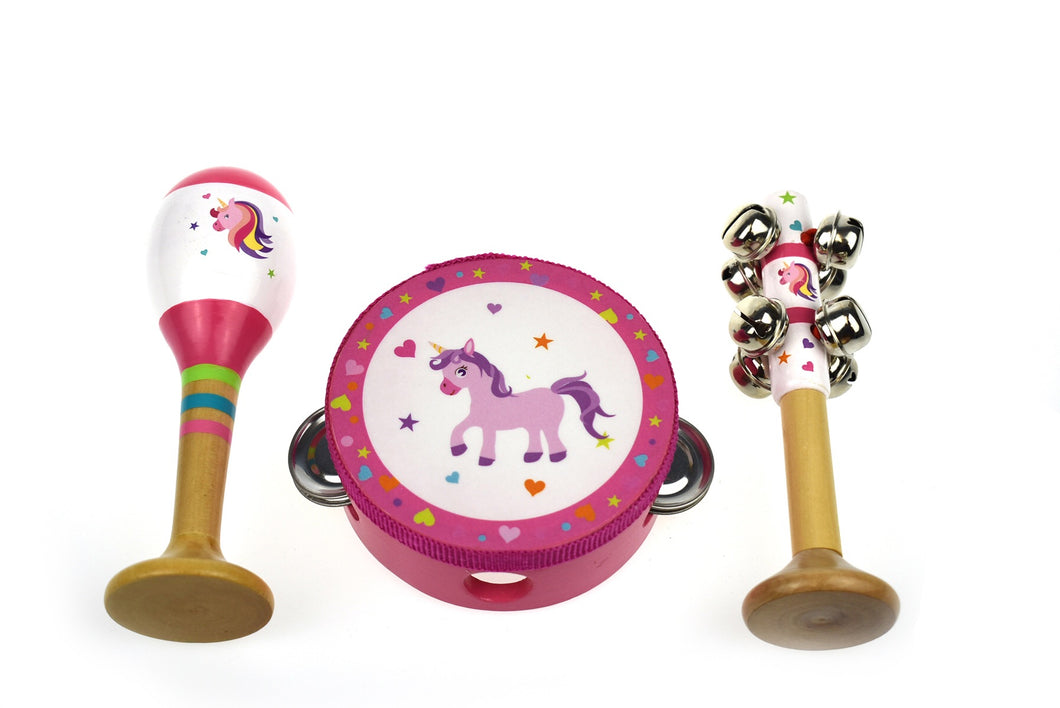 Unicorn Musical Set | maraca + bell stick + tambourine - Integrity Lane