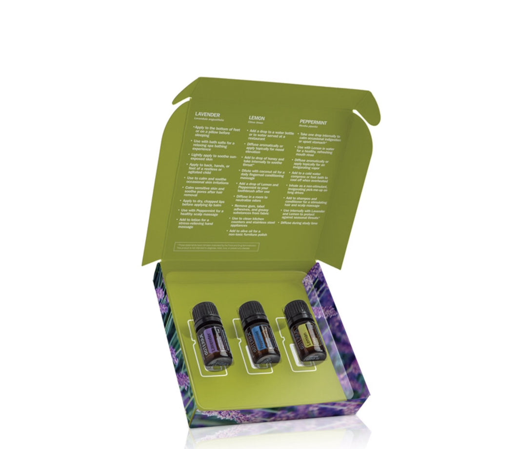 Essential Oil Introductory Kit - Peppermint, Lavender & Lemon - Integrity Lane