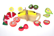 Wooden Cutting Fruit Set with Knife + Board + Crate | Velcro Food Kitchen Kiwi - Integrity Lane