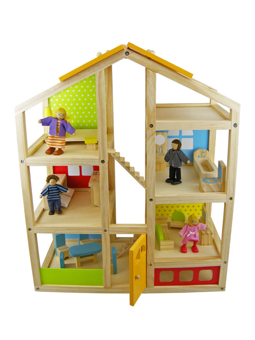 Wooden Doll House with Furniture | 3 stories levels | Tooky Toy | Flat Pack - Integrity Lane