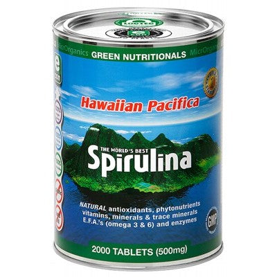 Green Nutritionals Hawaiian Pacifica Spirulina | 2000 Tablets = 500mg | Bulk - Integrity Lane