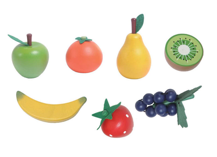 Wooden Fruit Set - 7 Pieces | Kaper Kidz | Kiwi Strawberry Blueberry + More - Integrity Lane