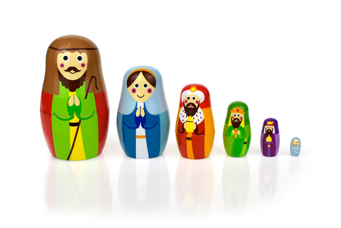 Wooden Nativity Nesting Dolls | Christmas Toy Decoration - Integrity Lane