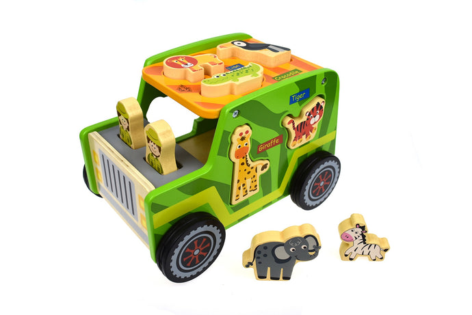 Tooky Toy - Wooden Safari Jeep Set | Toddler Puzzle Educational Developmental toy - Integrity Lane
