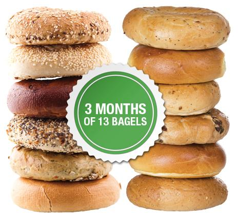 3 Months of 13 New York Bagels Package