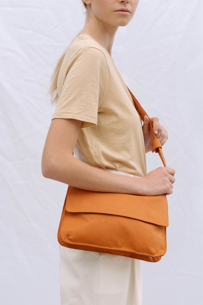 double clutch bag orange leather