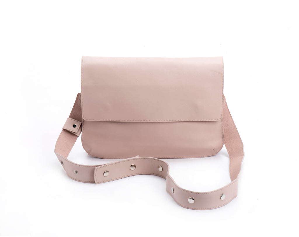 double clutch bag blush leather