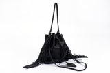 Large Fringe Bucket bag olive green suede