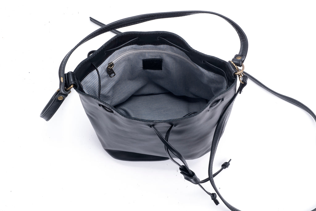 Mini Bucket bag- black leather