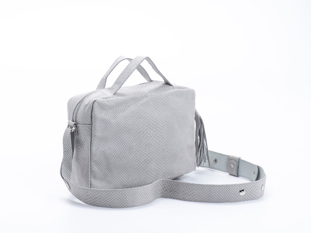 Big Box with handles Grey Croc leather