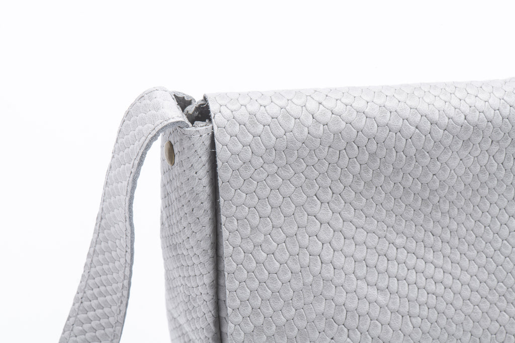 perfect size cross body bag grey croc leather