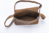 Small cross body bag camel leather