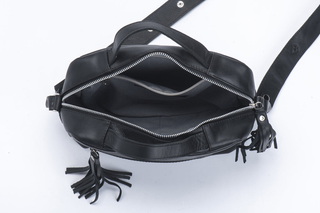 Big Box with handles Black croc Leather