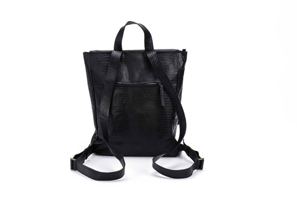 Classic Backpack Black Textured Leather