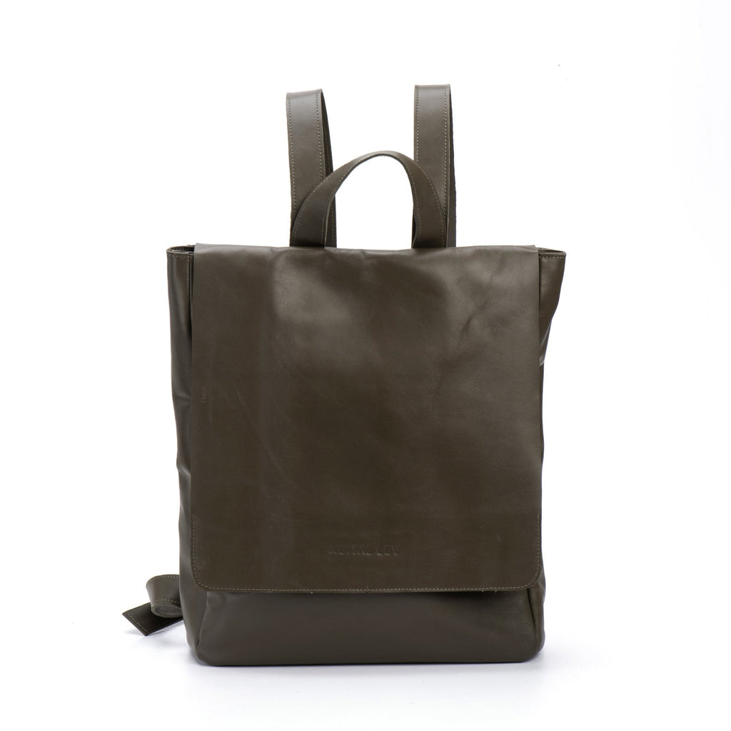 Classic Backpack Olive Green Leather
