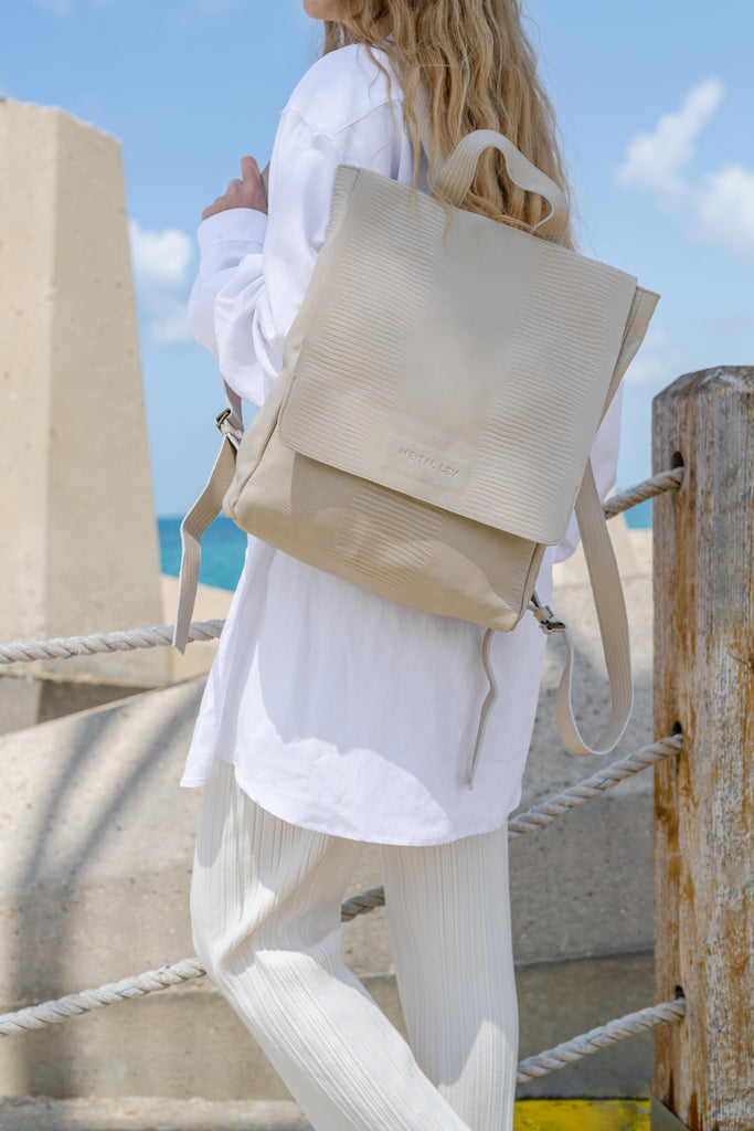 Classic Backpack beige Textured Leather