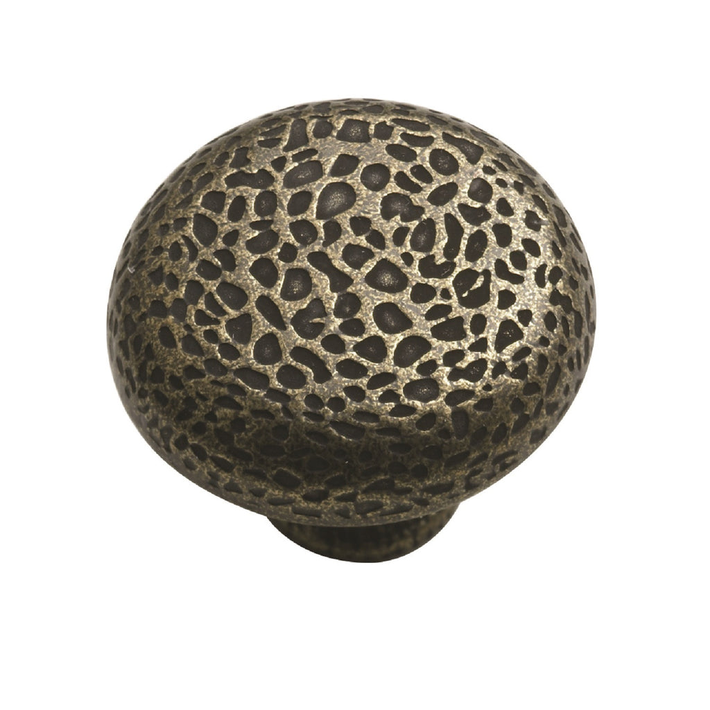 Hammered Knob Handle Antique Brass