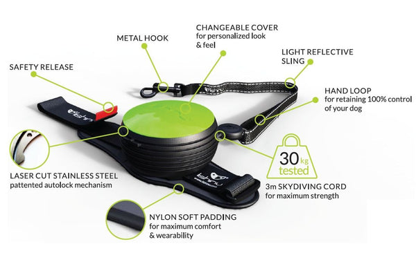Lishinu hand free retractable dog lead