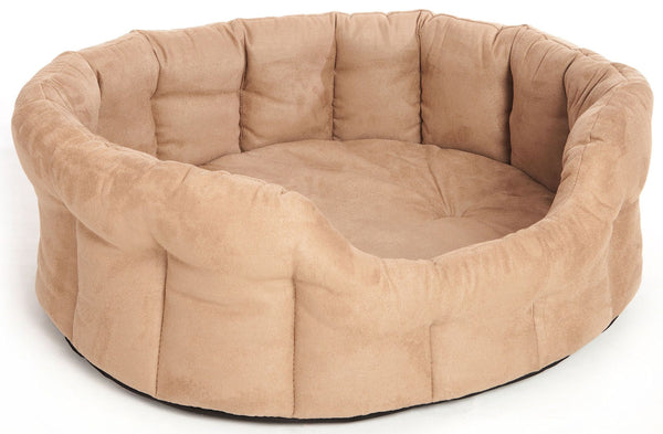 P&L Premium Oval Drop Fronted Heavy Duty Faux Suede Material Softee Beds