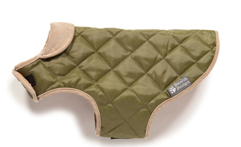 Forest Green Quilted Dog Coat