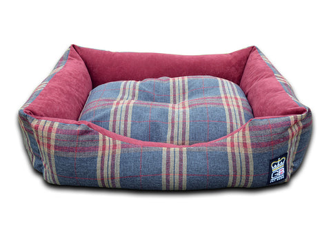 GB Bed Pets Dog Snuggle Bed Classic Settee Check Fabric