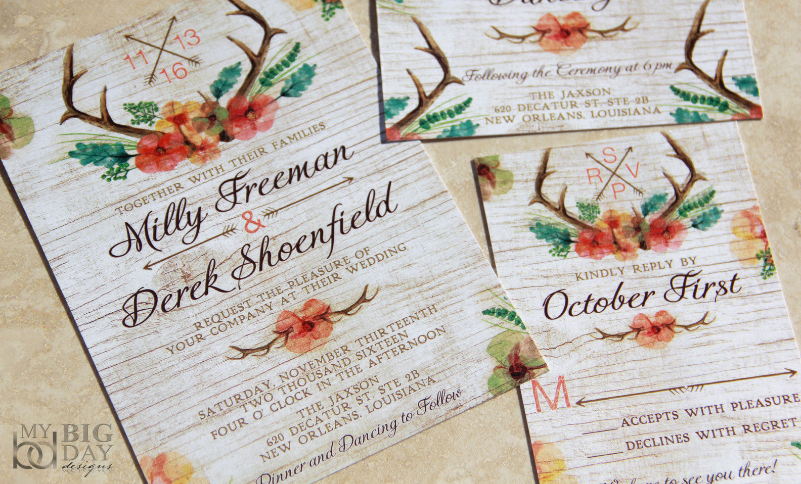 The Floral Antlers Invitation Set