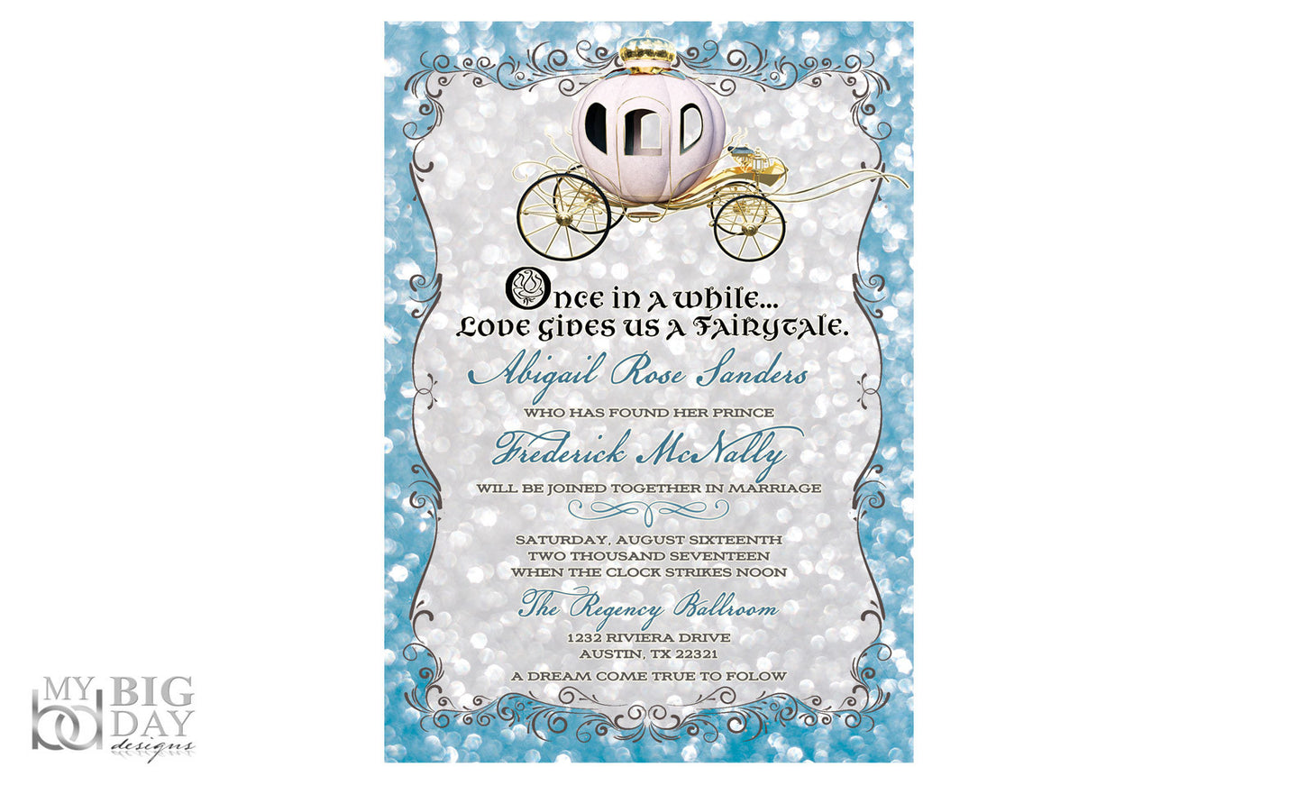Once Apon A Time Cinderella themed Invitation Set – My Big Day ...